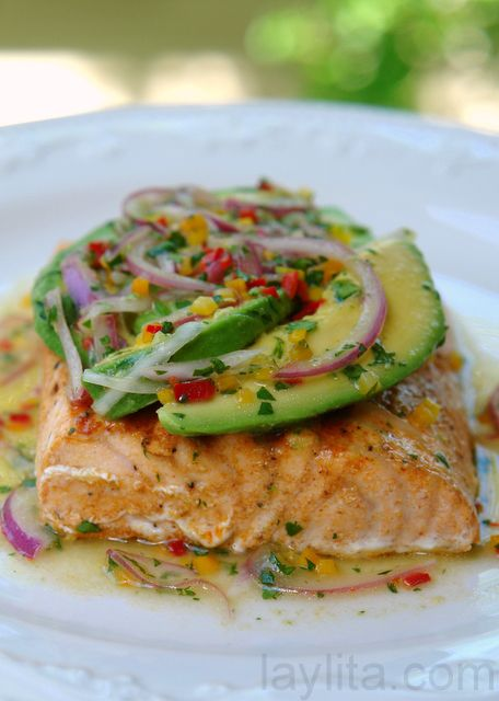 Salmon with avocado cilantro lime salsa