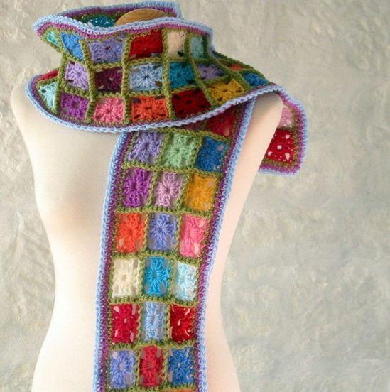 Multicoloured Magic Granny Square Crochet Scarf