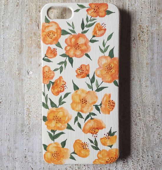 For taking phone calls while gardening: a case painted with pretty blooms. #EtsyAustralia