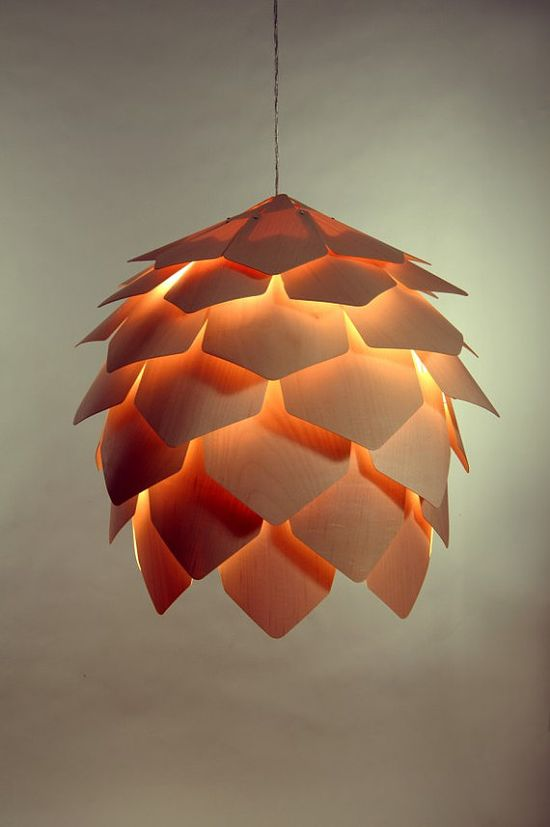 pinecone lamp made of wood panels