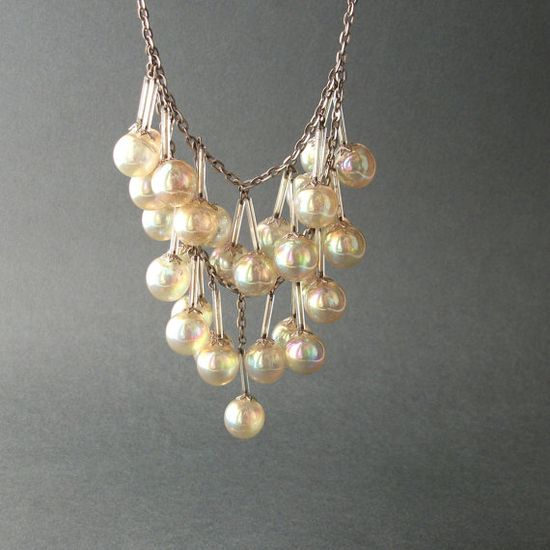 Art Deco Necklace.  Glass Bubbles & Tubes. Iridescent. by TheDeeps, #vjse2 #boebot #etsybot2 #vintage #jewelry $320.00
