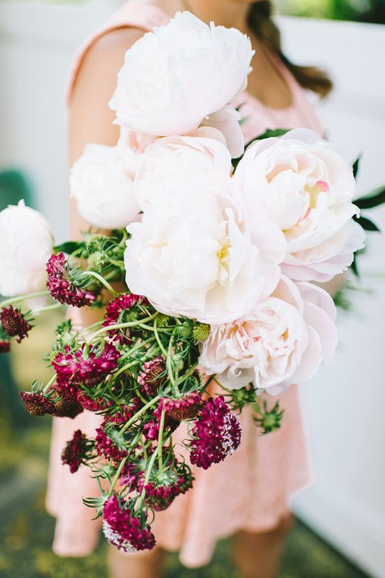 white peonies + raspberry scabiosa // photo by Cambria Grace Photography, flower design by Pollen Floral Design // View more: ruffledblog.com/...