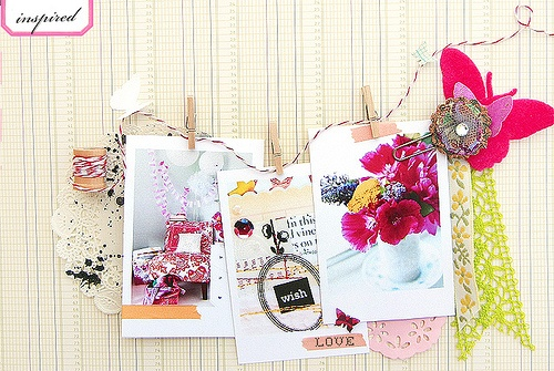 Clothesline from Debee Campos and her lovely scrapbook layout (or art journal)