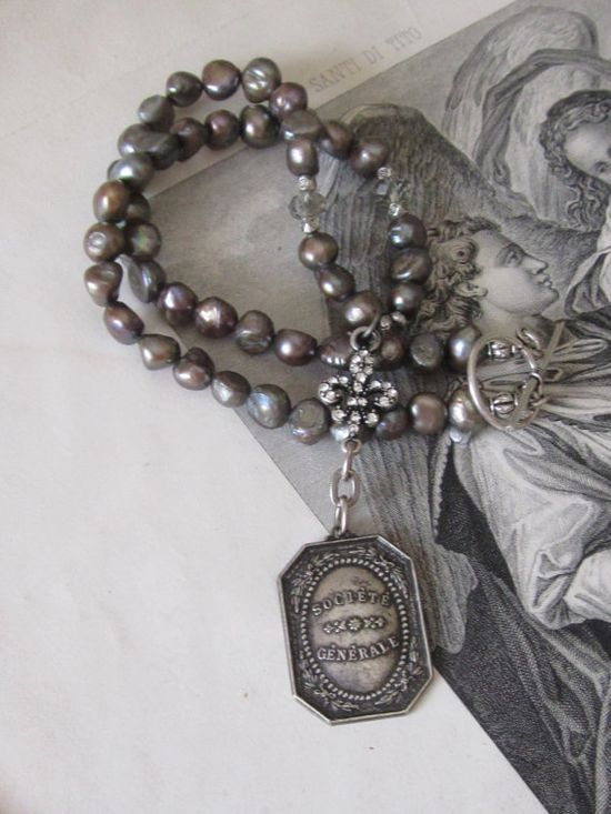 repurposed necklace assemblage jewelry french by atelierparis