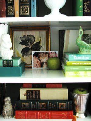 charming bookshelf styling.