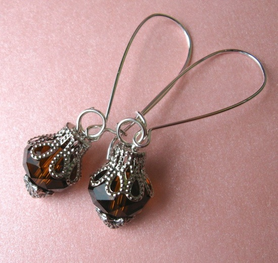 SMOKY TOPAZ earrings on French wires. $7.00.  www.etsy.com/...