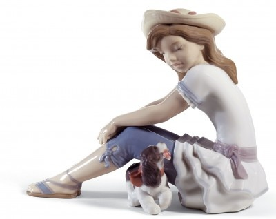 My Playful Pet Girl and Puppy by Lladro