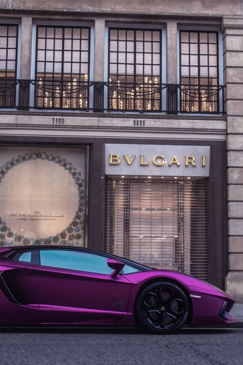 Bvlgari store front and metallic purple luxury sports car