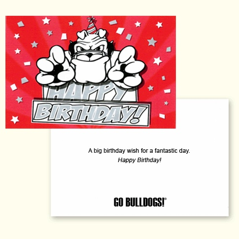 Card university of georgia red birthday card with hairy dawg mascot
