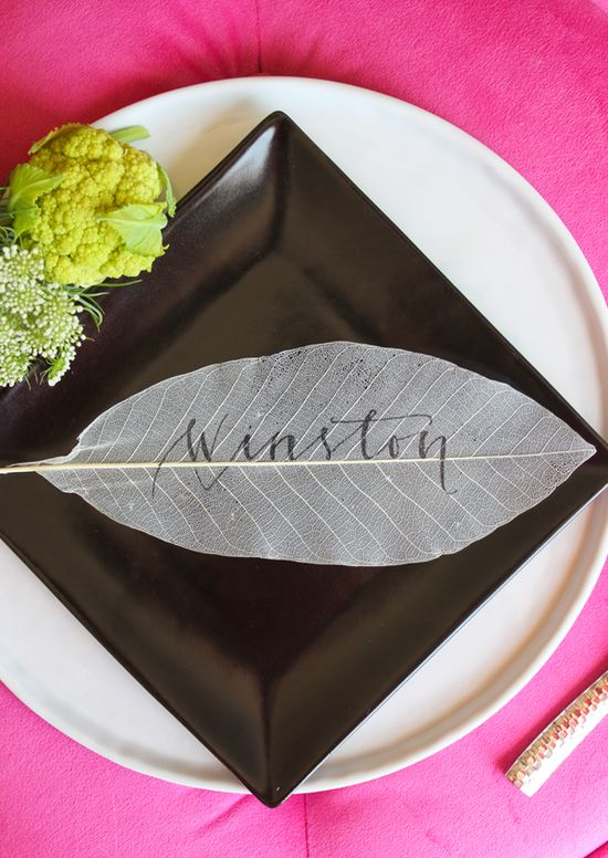 sheer leaf place card // diy A Fabulous Fete