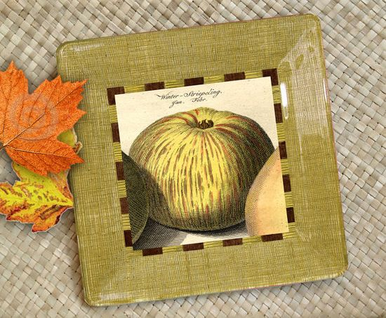 Decorative Plates  / Apple / Kitchen Decor / by GlassPaperScizzors, $89.00