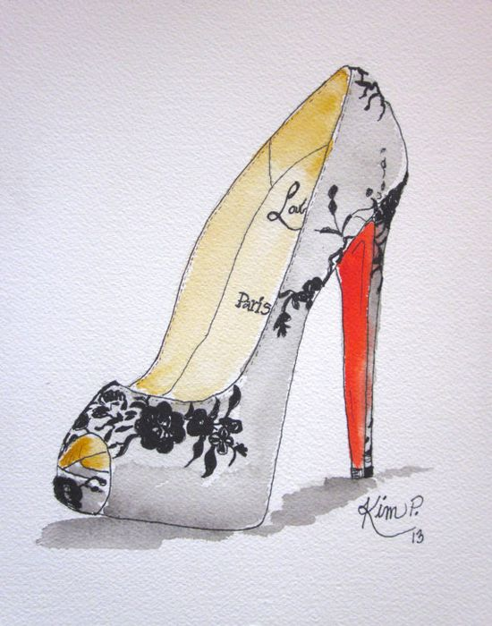 Fashion illustration    louboutin inspired shoe by KIMPETERSONART, $35.00