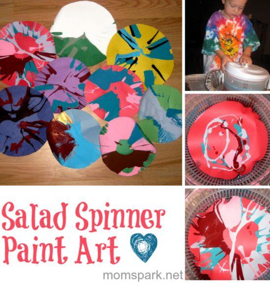 Salad spinner paint art - so easy. #diy #crafts #kids