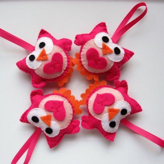 Four Valentine Owls