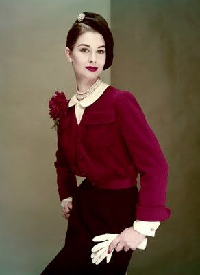 A stylish, completely wearable deep cranberry hued 1950s jacket with matching bloom. #fashion #1950s #vintage #jacket #blouse #hat #red