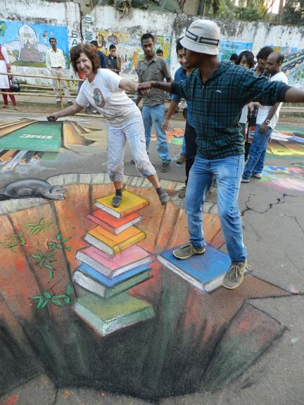 """3D chalk, Books"" - even in street art books can save you ~:^)>"