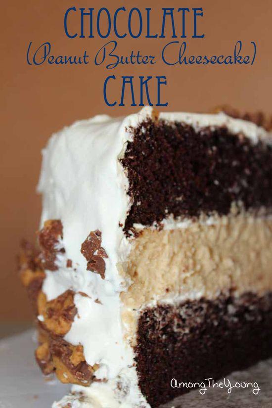 Chocolate Peanut Butter Cheesecake Cake #cake #cheesecake #chocolate #recipe #dessert
