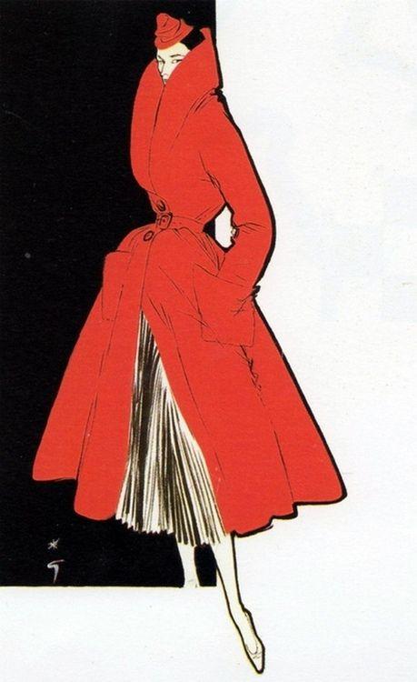 1950s fashion illustration by Rene Gruau.