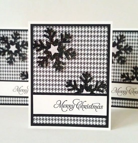 Handmade Christmas Cards Set of 5  Black and by AcarrdianCards, $15.00