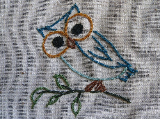 embroidered owl