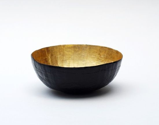 Paper Mache Bowl in Black and Gold  The Mini  Made to by etco, $15.00