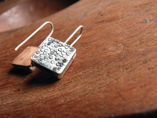Little+Earrings++Sterling+silver+and+copper+by+aforfebre+on+Etsy,+$25.00