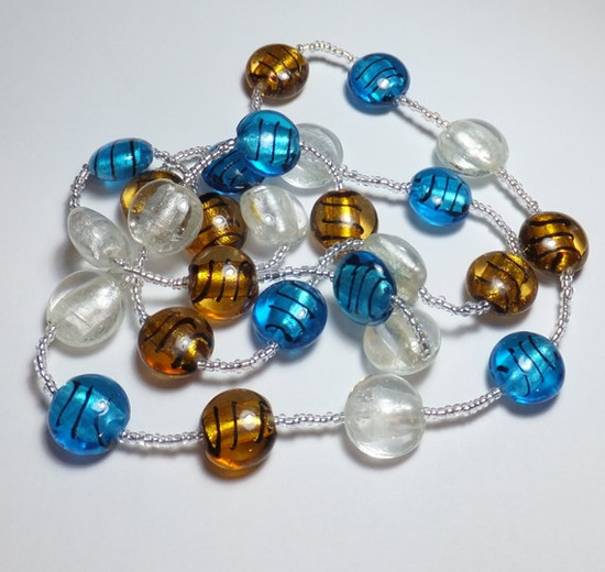 Silver Gold and Blue Striped Glass Bead Necklace by tzteja on Etsy, $20.00