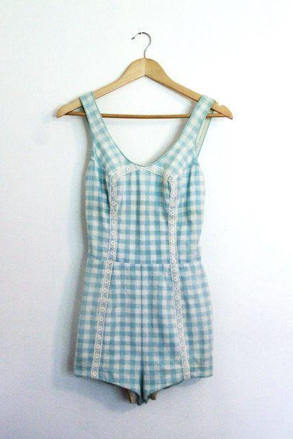 1950's Vintage Swim Suit Blue Gingham