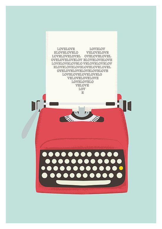 Vintage typewriter poster, mid century art, Retro print, heart print, words, pop art, posters with typewriters  A3 #flatdesign