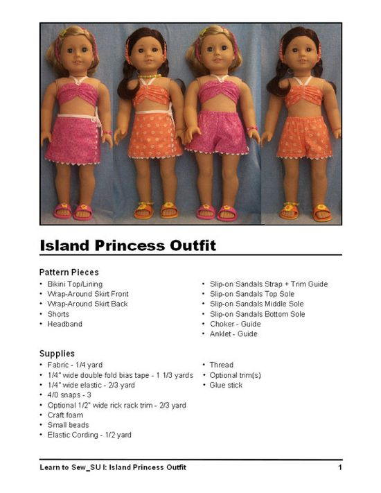 American Girl Doll LearntoSew Doll Clothes Pattern by LagniappeToo, $7.95