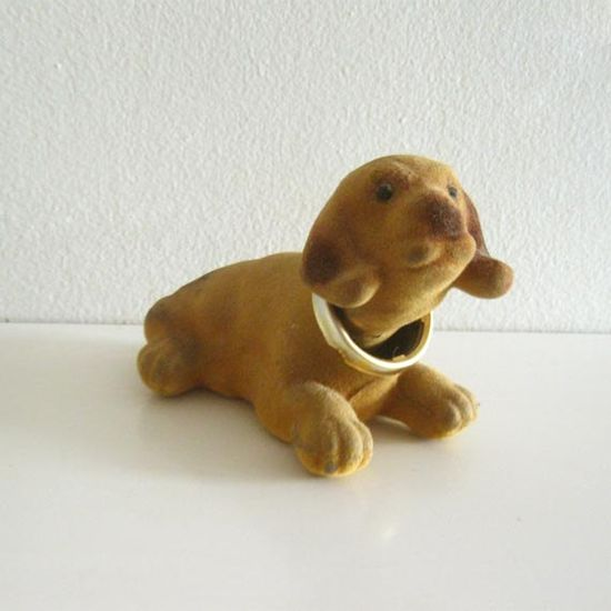 Flocked bobble-head dog
