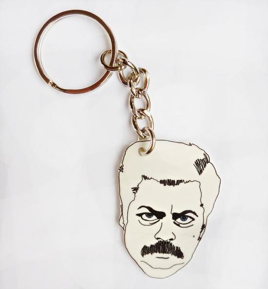 Ron Swanson, A Simple Man Keychain.