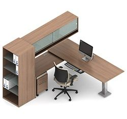 Modern desk set from the Global Total Office Princeton furniture collection.