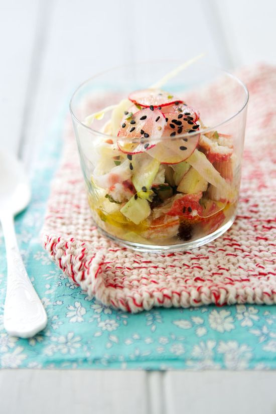 Black chickpea, crab and fennel verrine recipe,  with apple and avocado
