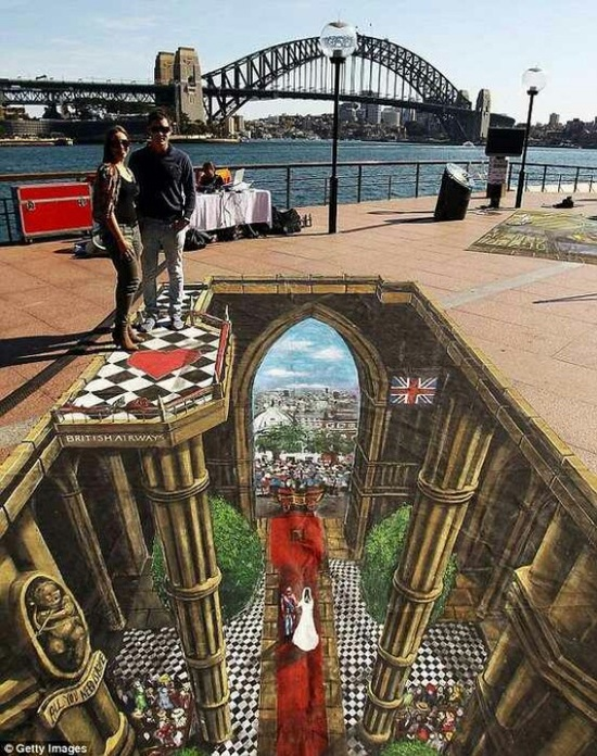 3D Street Art or called optical illusion art.