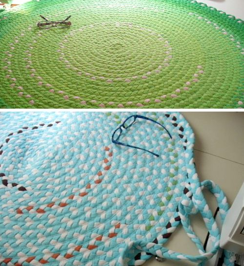 These rugs are made out of recycled T-shirts, such a cool idea!