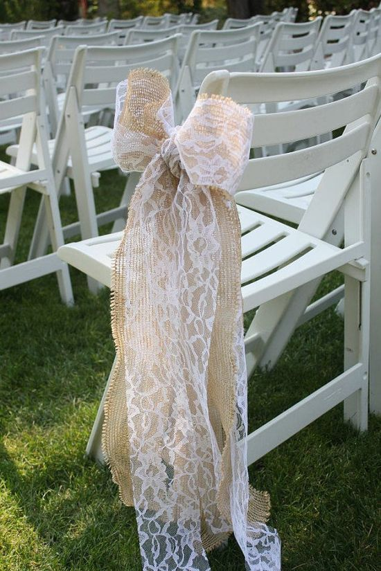 Wired Burlap and Lace Bows by SimpleWeddingDesigns on Etsy, $12.00!