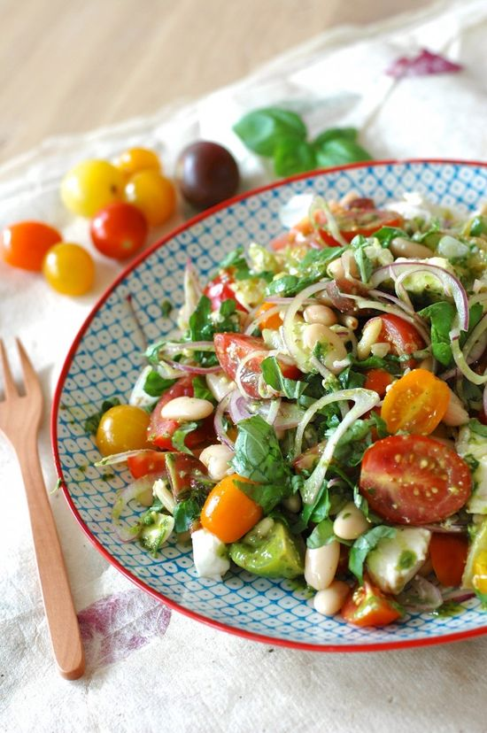 Caprese summer salad with cannellini beans.