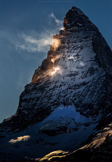 Snow melting off the side of the Matterhorn