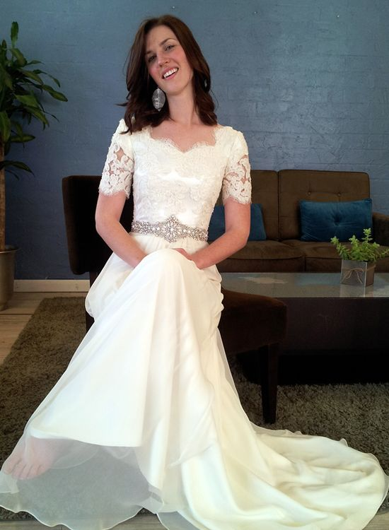 Ethereal modest wedding dress alta moda exclusive pinpoint for Ethereal wedding dress