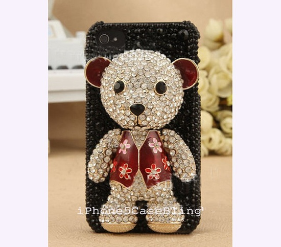 iPhone 4 Case, iPhone 4s Case, iPhone 5 Case, Cute iPhone 5 Case, Cute iphone 4 case, 3D iphone 4 case bear, cover iphone 5, iphone5 case by iPhone5CaseBling, $24.98