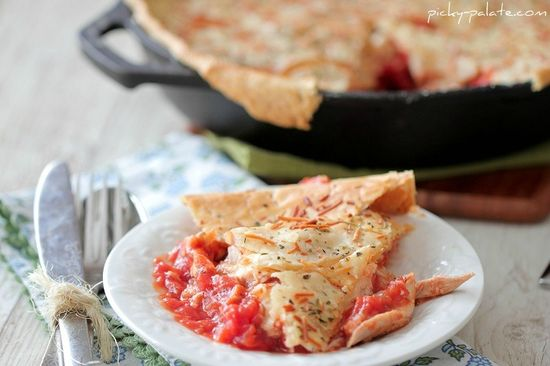 Chicken Parmesan Skillet Pot Pie . The recipe is idiot-proof