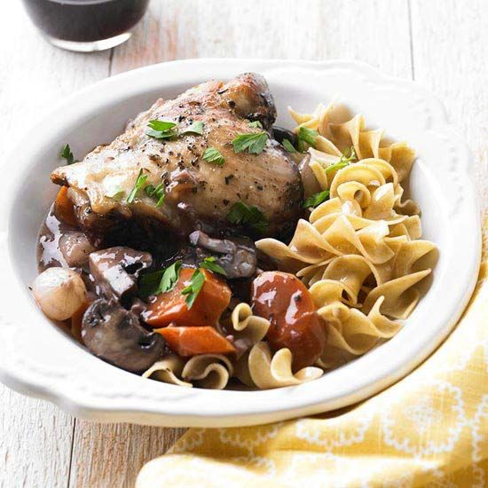 Our So-Easy Coq au Vin makes for a delicious winter meal! More slow cooker recipes: www.bhg.com/...