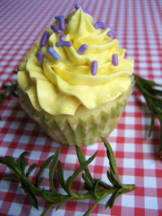 Savory Cupcakes (with Lavender and a Honey-Lemon Buttercream)
