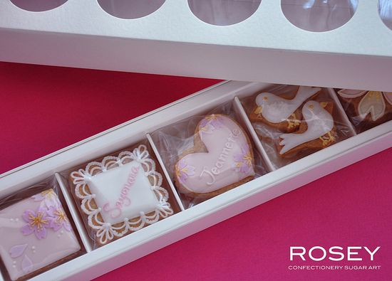 Pretty packaging for wedding and other cookies.