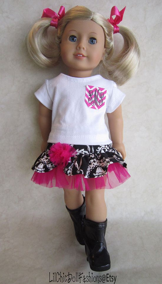 American Girl black damask ensemble with monogrammed chevron pocket by LilChicDollFashions on Etsy, $35.00