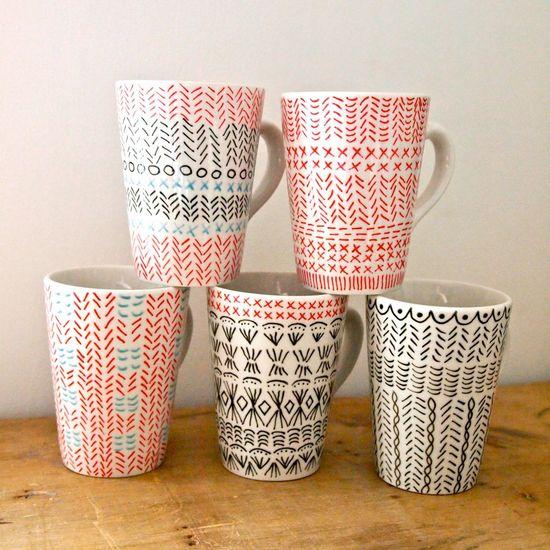 Hand drawn mug painted tea cup coffee mug knitted pattern -  Jess Quinn