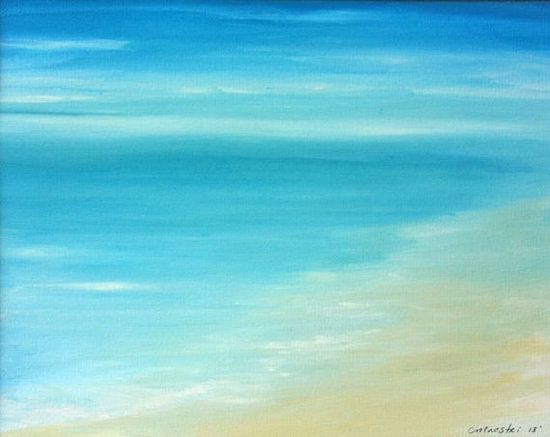 Watercolor Beach Painting Ocean Painting by ChrisMaestriGallery, $89.00