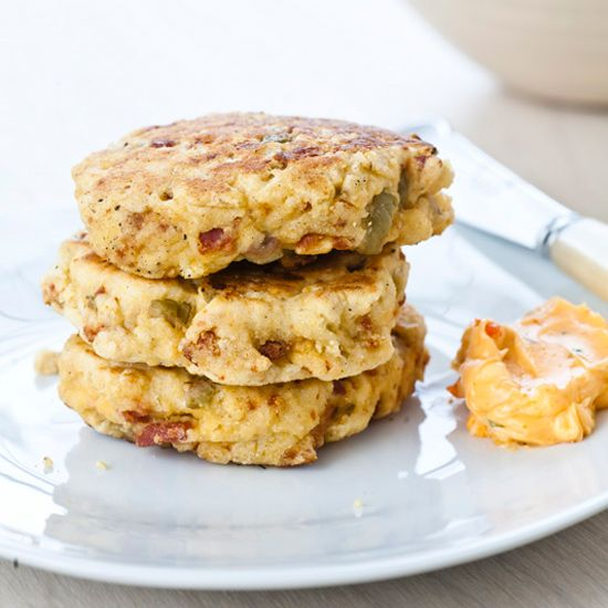 Chorizo-Olive Griddle Cakes with Chile Butter // More Recipes with Chorizo: www.foodandwine.c... #foodandwine