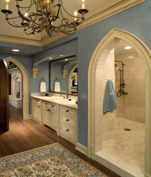 Shower behind the sinks...... Its kinda like a cave...... you dont have to worry about cleaning shower door. So neat!! (rustic theme of course)